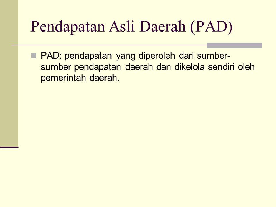 Pendapatan Asli Daerah (PAD) PAD: pendapatan yang diperoleh dari sumber- sumber pendapatan daerah dan dikelola sendiri oleh pemerintah daerah.