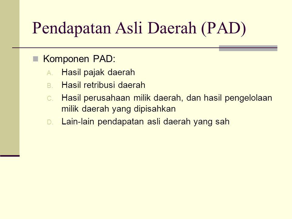Pendapatan Asli Daerah (PAD) Komponen PAD: A. Hasil pajak daerah B. Hasil retribusi daerah C. Hasil perusahaan milik daerah, dan hasil pengelolaan mil