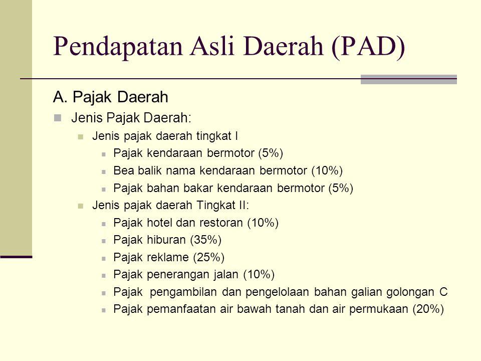Pendapatan Asli Daerah (PAD) A. Pajak Daerah Jenis Pajak Daerah: Jenis pajak daerah tingkat I Pajak kendaraan bermotor (5%) Bea balik nama kendaraan b
