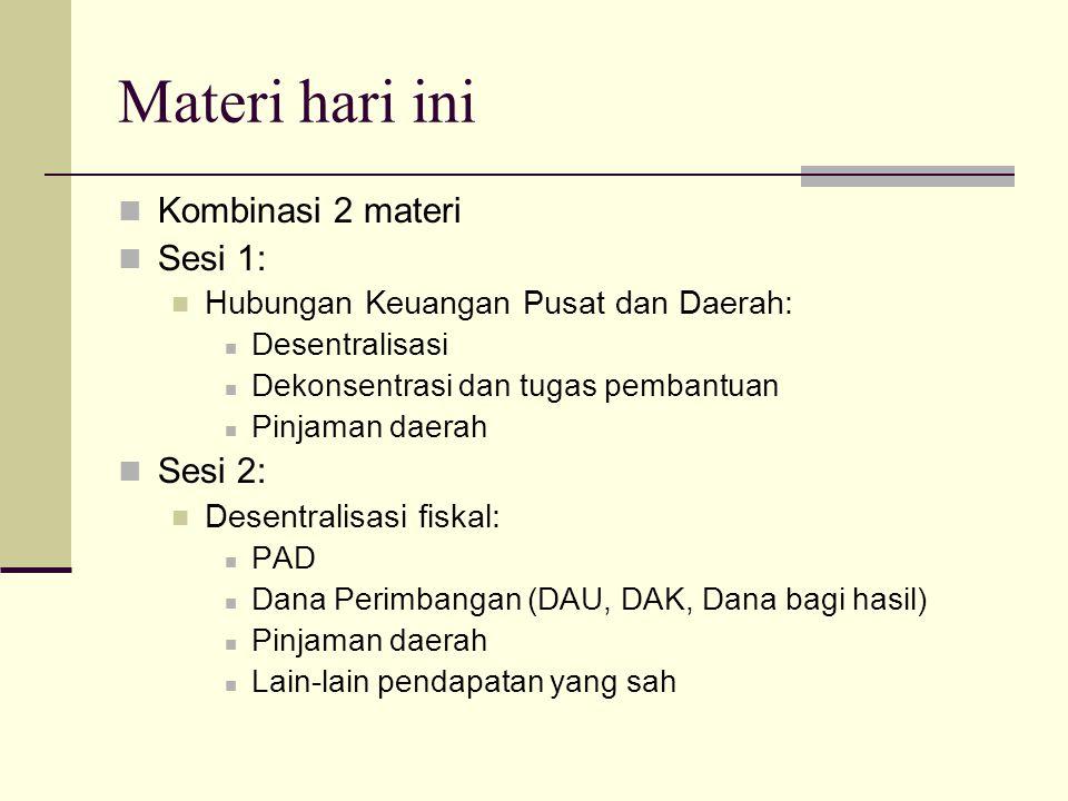 Materi hari ini Kombinasi 2 materi Sesi 1: Hubungan Keuangan Pusat dan Daerah: Desentralisasi Dekonsentrasi dan tugas pembantuan Pinjaman daerah Sesi