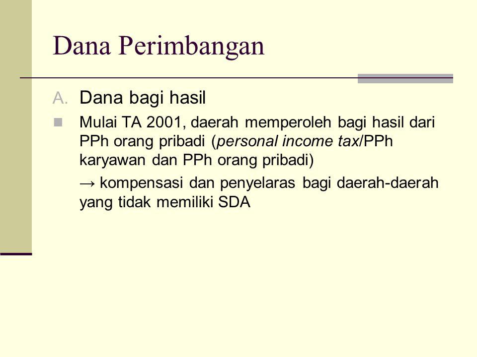 Dana Perimbangan A. Dana bagi hasil Mulai TA 2001, daerah memperoleh bagi hasil dari PPh orang pribadi (personal income tax/PPh karyawan dan PPh orang