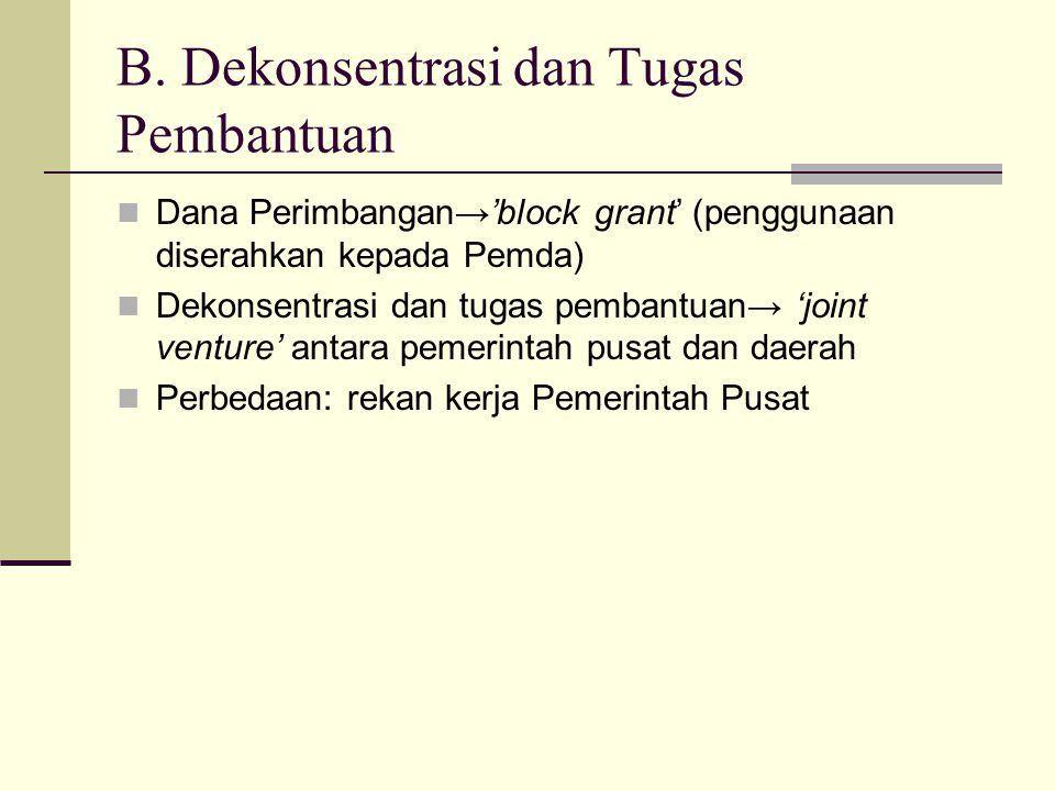 B. Dekonsentrasi dan Tugas Pembantuan Dana Perimbangan→'block grant' (penggunaan diserahkan kepada Pemda) Dekonsentrasi dan tugas pembantuan→ 'joint v