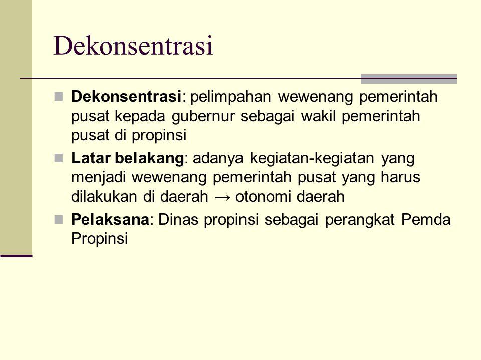 Dekonsentrasi Dekonsentrasi: pelimpahan wewenang pemerintah pusat kepada gubernur sebagai wakil pemerintah pusat di propinsi Latar belakang: adanya ke