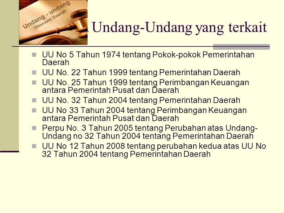 Beberapa Undang-Undang yang terkait UU No 5 Tahun 1974 tentang Pokok-pokok Pemerintahan Daerah UU No. 22 Tahun 1999 tentang Pemerintahan Daerah UU No.