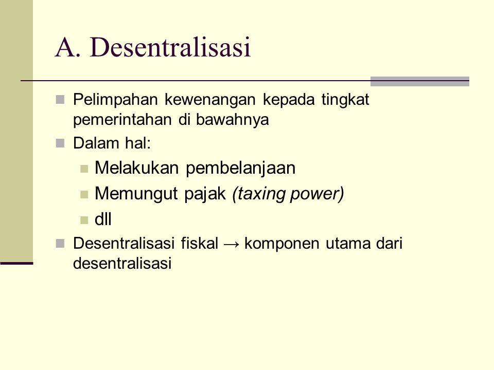 Pelimpahan kewenangan kepada tingkat pemerintahan di bawahnya Dalam hal: Melakukan pembelanjaan Memungut pajak (taxing power) dll Desentralisasi fiskal → komponen utama dari desentralisasi