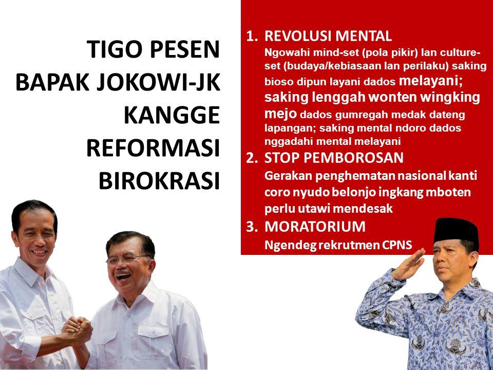TIGO PESEN BAPAK JOKOWI-JK KANGGE REFORMASI BIROKRASI 1.REVOLUSI MENTAL Ngowahi mind-set (pola pikir) lan culture- set (budaya/kebiasaan lan perilaku)