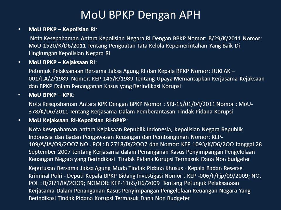 MoU BPKP Dengan APH MoU BPKP – Kepolisian RI: Nota Kesepahaman Antara Kepolisian Negara RI Dengan BPKP Nomor: B/29/K/2011 Nomor: MoU-1520/K/D6/2011 Te
