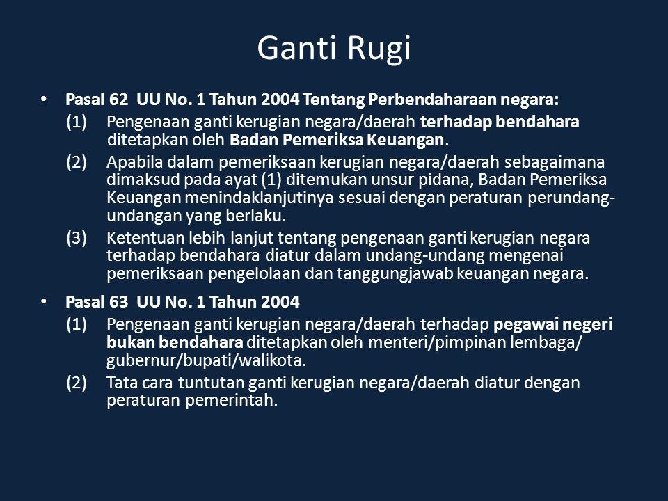 Ganti Rugi Pasal 62 UU No. 1 Tahun 2004 Tentang Perbendaharaan negara: (1) Pengenaan ganti kerugian negara/daerah terhadap bendahara ditetapkan oleh B