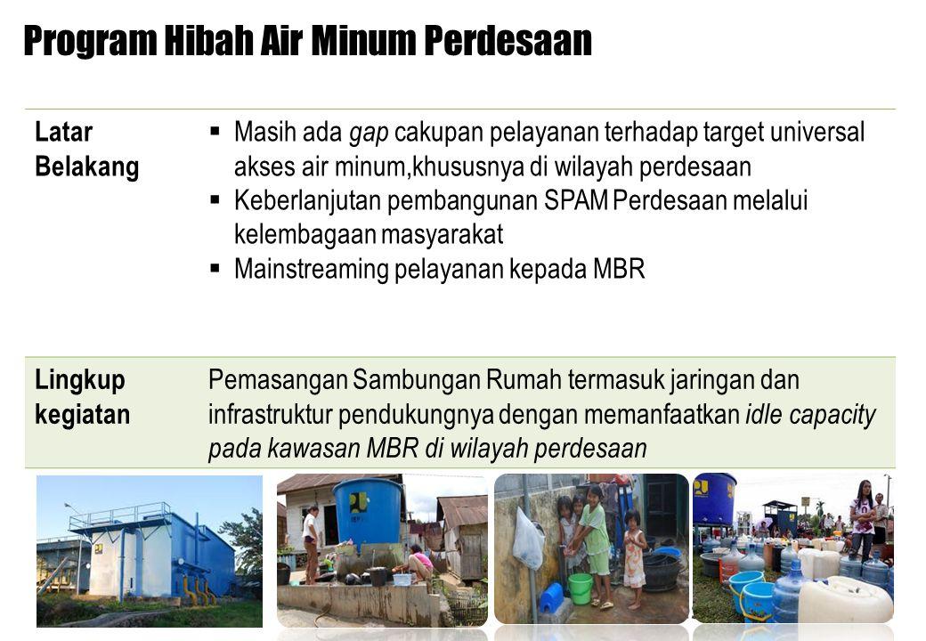 2 Latar Belakang  Masih ada gap cakupan pelayanan terhadap target universal akses air minum,khususnya di wilayah perdesaan  Keberlanjutan pembanguna