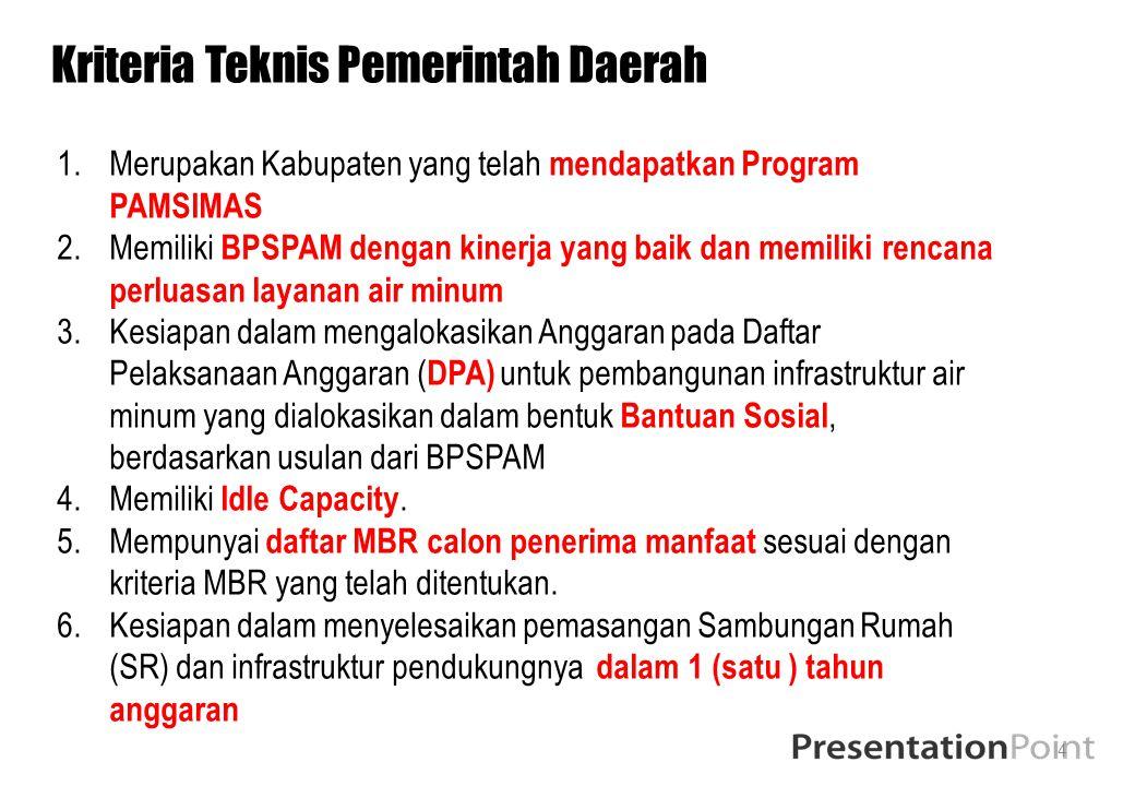 4 Kriteria Teknis Pemerintah Daerah 1.Merupakan Kabupaten yang telah mendapatkan Program PAMSIMAS 2.Memiliki BPSPAM dengan kinerja yang baik dan memil