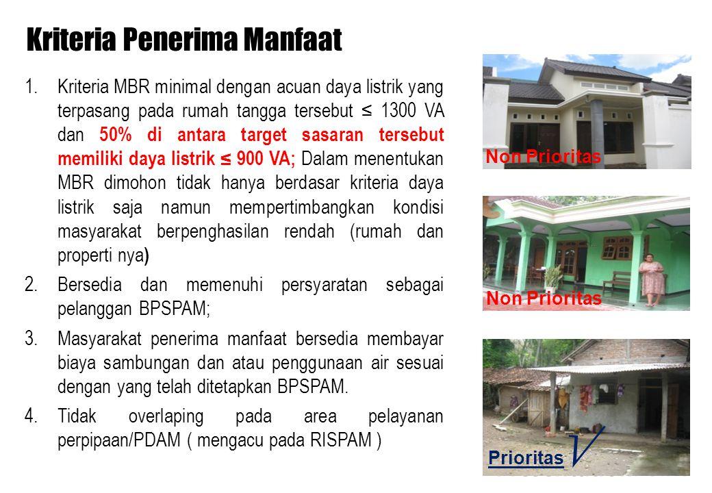 Kriteria Penerima Manfaat 1.Kriteria MBR minimal dengan acuan daya listrik yang terpasang pada rumah tangga tersebut ≤ 1300 VA dan 50% di antara targe