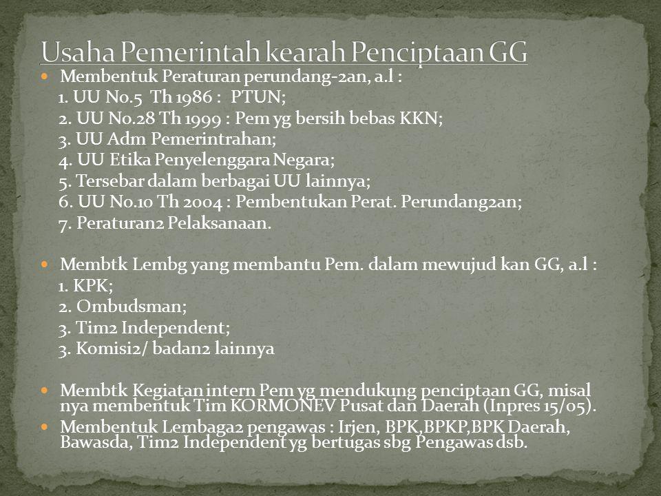 Membentuk Peraturan perundang-2an, a.l : 1.UU No.5 Th 1986 : PTUN; 2.