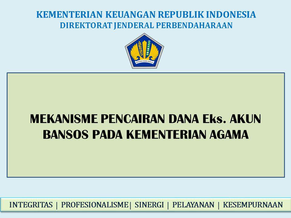 MEKANISME PENCAIRAN DANA Eks. AKUN BANSOS PADA KEMENTERIAN AGAMA KEMENTERIAN KEUANGAN REPUBLIK INDONESIA DIREKTORAT JENDERAL PERBENDAHARAAN INTEGRITAS