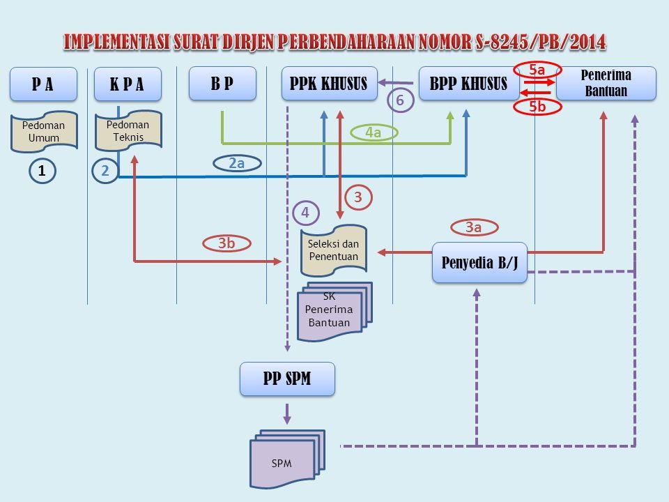 P A K P A PPK KHUSUS BPP KHUSUS B P Pedoman Umum Pedoman Teknis Penerima Bantuan 12 2a 3 5a 5b SK Penerima Bantuan 3a 3b Seleksi dan Penentuan 6 PP SP