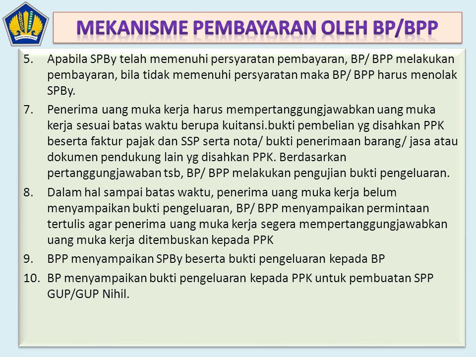 5.Apabila SPBy telah memenuhi persyaratan pembayaran, BP/ BPP melakukan pembayaran, bila tidak memenuhi persyaratan maka BP/ BPP harus menolak SPBy. 7