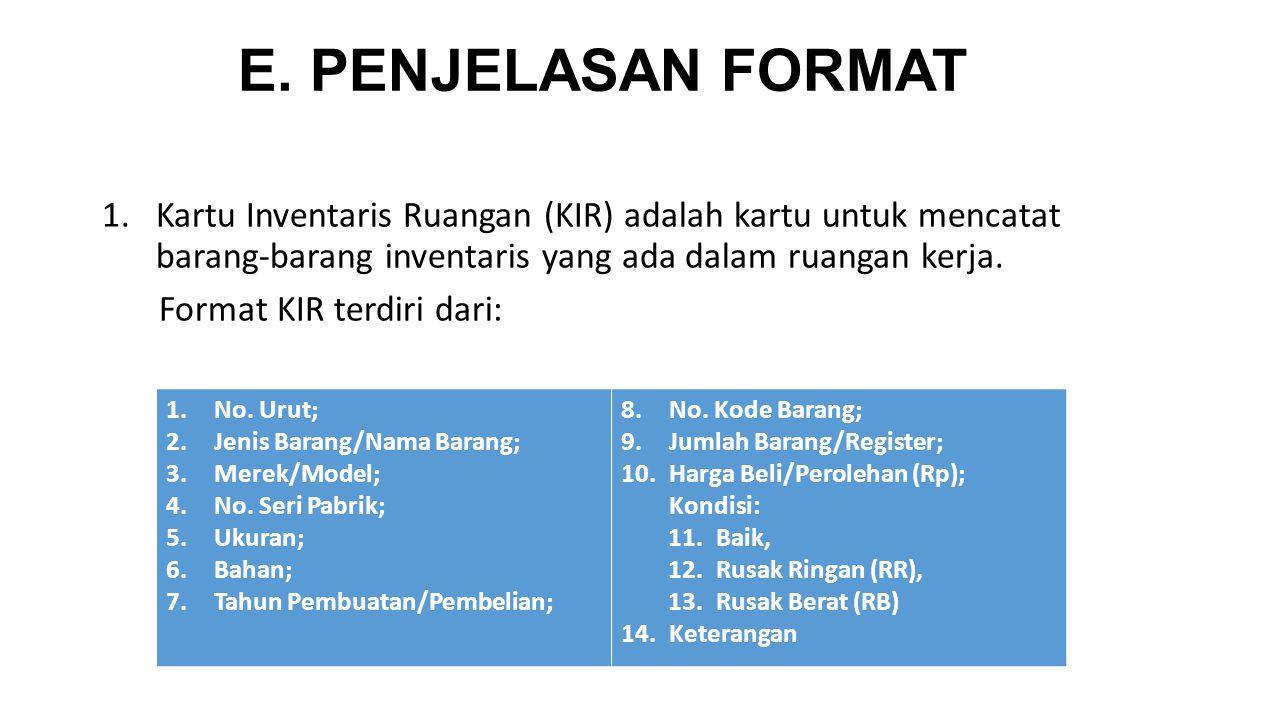 E. PENJELASAN FORMAT 1.Kartu Inventaris Ruangan (KIR) adalah kartu untuk mencatat barang-barang inventaris yang ada dalam ruangan kerja. Format KIR te