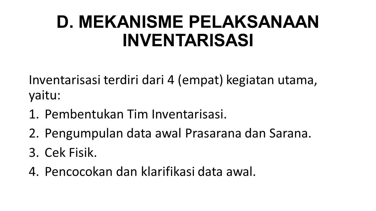 D. MEKANISME PELAKSANAAN INVENTARISASI Inventarisasi terdiri dari 4 (empat) kegiatan utama, yaitu: 1.Pembentukan Tim Inventarisasi. 2.Pengumpulan data
