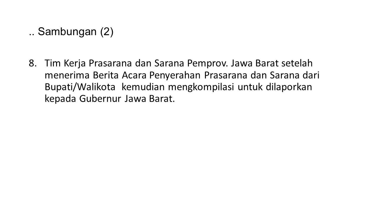 .. Sambungan (2) 8.Tim Kerja Prasarana dan Sarana Pemprov. Jawa Barat setelah menerima Berita Acara Penyerahan Prasarana dan Sarana dari Bupati/Waliko