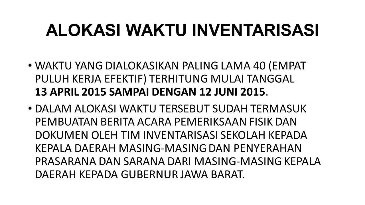 ALOKASI WAKTU INVENTARISASI WAKTU YANG DIALOKASIKAN PALING LAMA 40 (EMPAT PULUH KERJA EFEKTIF) TERHITUNG MULAI TANGGAL 13 APRIL 2015 SAMPAI DENGAN 12