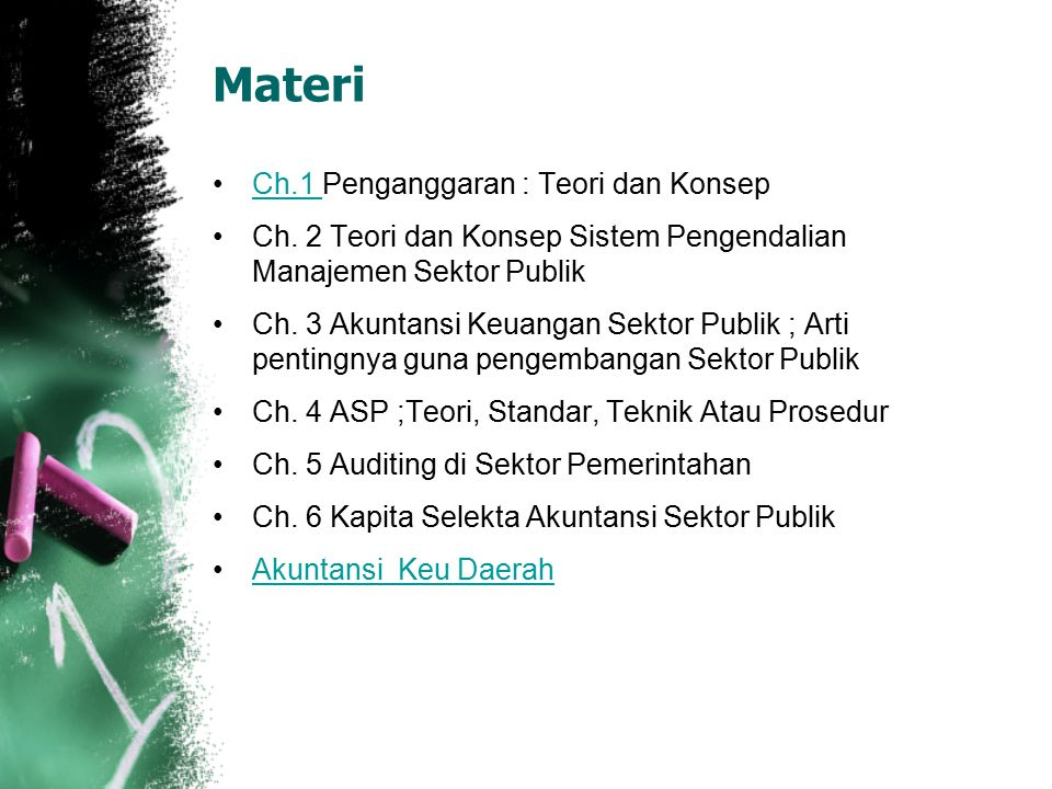 Materi Ch.1 Penganggaran : Teori dan KonsepCh.1 Ch. 2 Teori dan Konsep Sistem Pengendalian Manajemen Sektor Publik Ch. 3 Akuntansi Keuangan Sektor Pub
