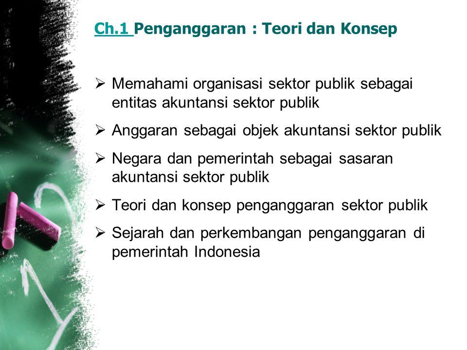 Ch.1 Ch.1 Penganggaran : Teori dan Konsep  Memahami organisasi sektor publik sebagai entitas akuntansi sektor publik  Anggaran sebagai objek akuntan