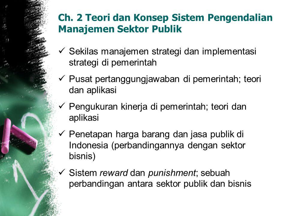 Ch. 2 Teori dan Konsep Sistem Pengendalian Manajemen Sektor Publik Sekilas manajemen strategi dan implementasi strategi di pemerintah Pusat pertanggun
