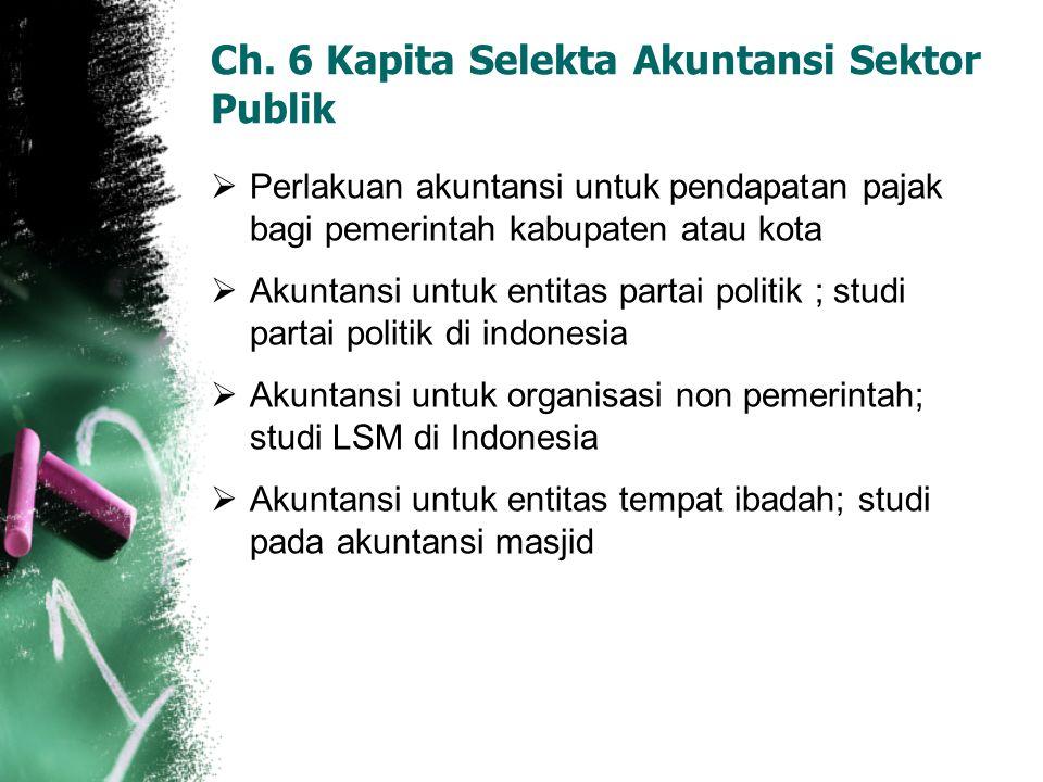 Ch. 6 Kapita Selekta Akuntansi Sektor Publik  Perlakuan akuntansi untuk pendapatan pajak bagi pemerintah kabupaten atau kota  Akuntansi untuk entita