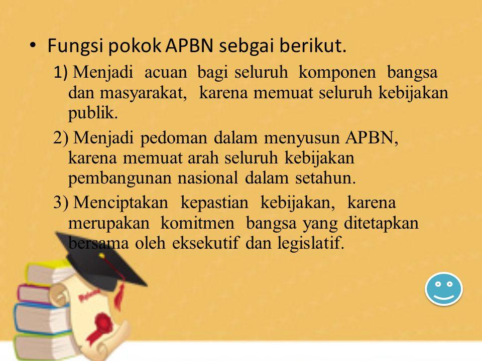 Fungsi pokok APBN sebgai berikut. 1) Menjadi acuan bagi seluruh komponen bangsa dan masyarakat, karena memuat seluruh kebijakan publik. 2) Menjadi ped