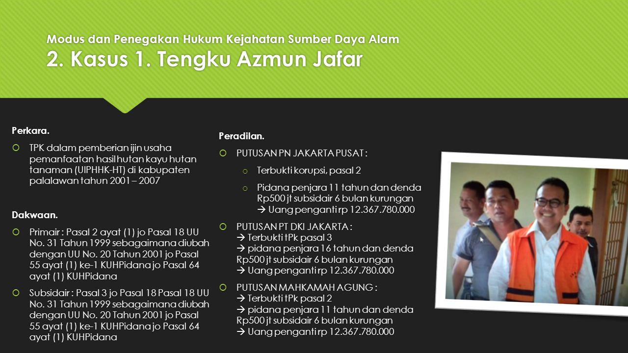 Modus dan Penegakan Hukum Kejahatan Sumber Daya Alam 2. Kasus 1. Tengku Azmun Jafar Perkara.  TPK dalam pemberian ijin usaha pemanfaatan hasil hutan