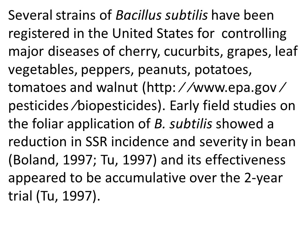Several strains of Bacillus subtilis have been registered in the United States for controlling major diseases of cherry, cucurbits, grapes, leaf vegetables, peppers, peanuts, potatoes, tomatoes and walnut (http: ⁄ ⁄www.epa.gov ⁄ pesticides ⁄biopesticides).
