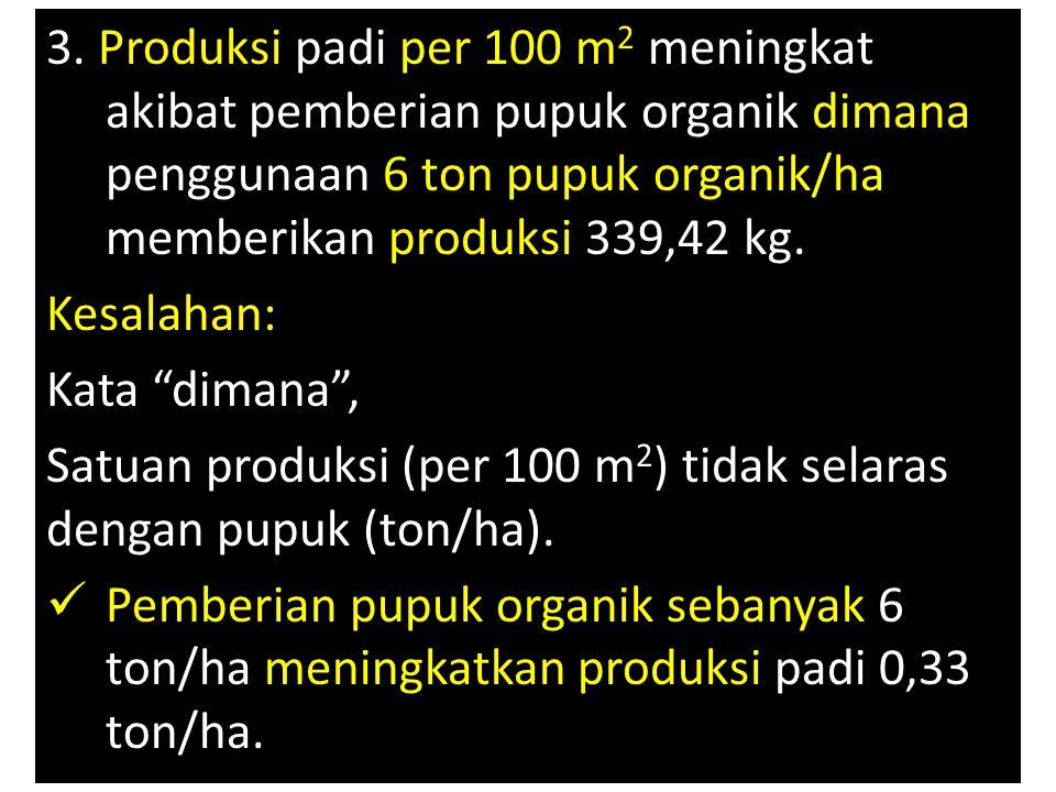 3. Produksi padi per 100 m 2 meningkat akibat pemberian pupuk organik dimana penggunaan 6 ton pupuk organik/ha memberikan produksi 339,42 kg. Kesalaha
