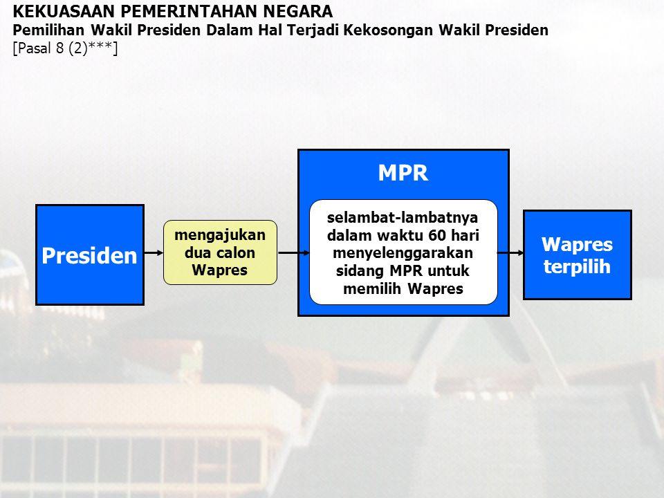 MPR MK KEKUASAAN PEMERINTAHAN NEGARA Pengusulan Pemberhentian Presiden dan/atau Wakil Presiden DPR usul DPR tidak diterima wajib memeriksa, mengadili, dan memutus paling lama 90 hari setelah permintaan diterima [Pasal 7B (4)***] Pengajuan permintaan DPR kepada MK hanya dapat dilakukan dengan dukungan sekurang-kurangnya 2/3 dari jumlah anggota yang hadir dalam sidang paripurna yang dihadiri oleh sekurang- kurangnya 2/3 dari jumlah anggota [Pasal 7B (3)***] Pendapat DPR bahwa Presiden dan/atau Wakil Presiden telah melakukan pelanggaran hukum ataupun telah tidak lagi memenuhi syarat [Pasal 7B (2)***] wajib menyelenggarakan sidang untuk memutuskan usul DPR paling lambat 30 hari sejak usul diterima [Pasal 7B (6)***] Keputusan diambil dalam sidang paripurna, dihadiri sekurang-kurangnya 3/4 jumlah anggota, disetujui sekurang-kurangnya 2/3 jumlah yang hadir, setelah Presiden dan/atau wakil presiden diberi kesempatan menyampaikan penjelasan [Pasal 7B (7)***] DPR menyelenggarakan sidang paripurna untuk meneruskan usul pemberhentian kepada MPR [Pasal 7B (5)***] usul DPR diterima Presiden dan/atau Wakil Presiden terus menjabat Presiden dan/atau Wakil Presiden diberhentikan tidak terbukti terbukti