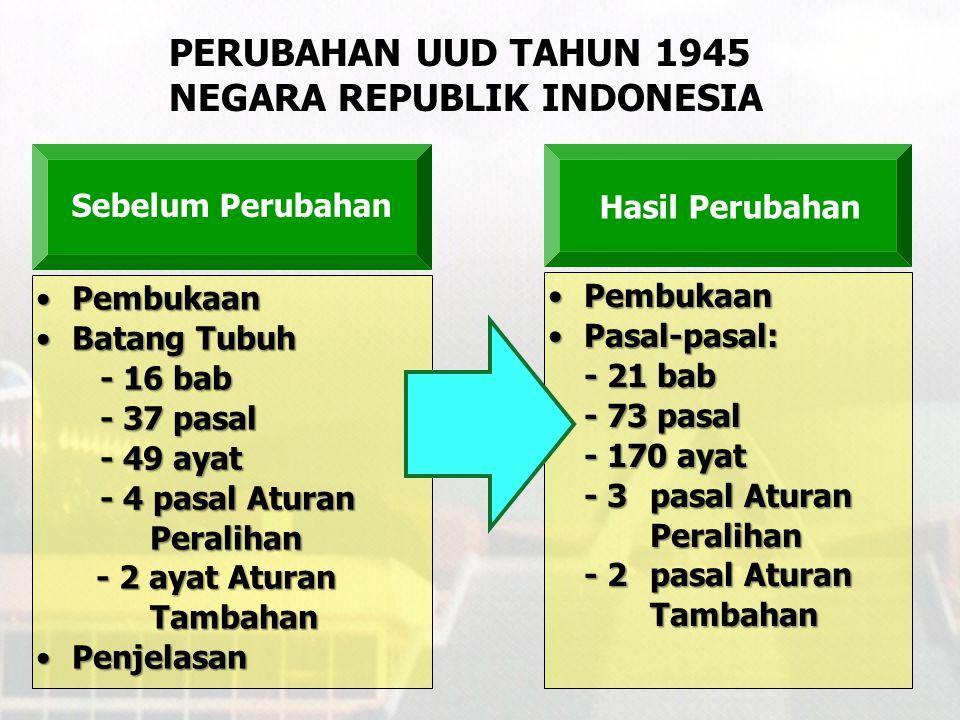 PERUBAHAN UUD TAHUN 1945 NEGARA REPUBLIK INDONESIA Antara lain: 1.Amandemen UUD 1945 2.Penghapusan doktrin Dwi Fungsi ABRI 3.Penegakan hukum, HAM, dan pemberantasan KKN 4.Otonomi Daerah 5.Kebebasan Pers 6.Mewujudkan kehidupan demokrasi Tuntutan Reformasi