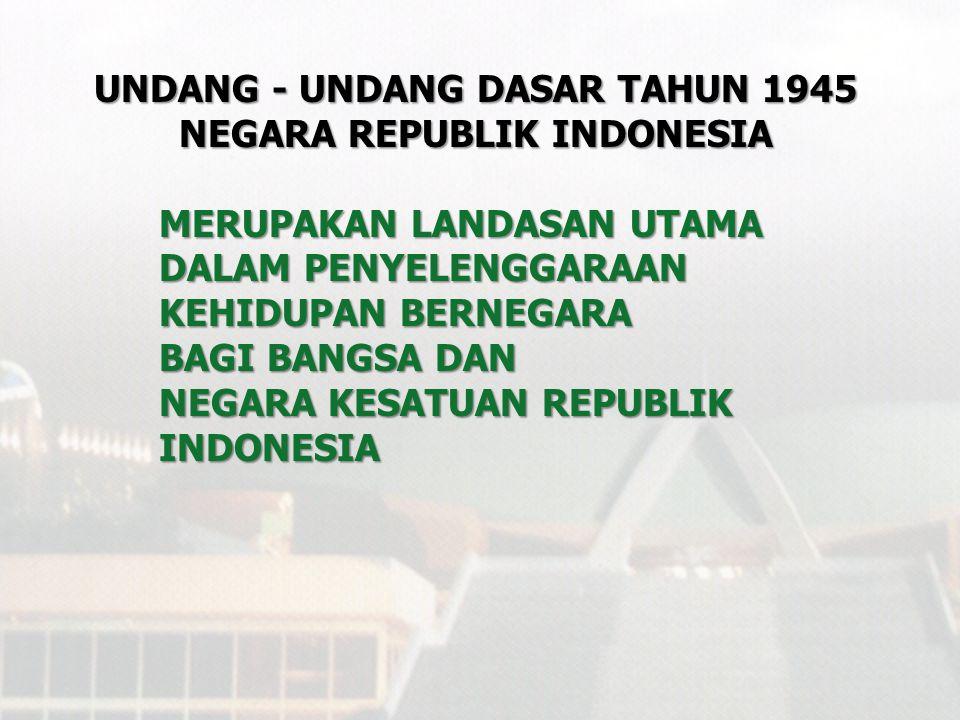 PERUBAHAN UUD TAHUN 1945 NEGARA REPUBLIK INDONESIA PembukaanPembukaan Batang TubuhBatang Tubuh - 16 bab - 16 bab - 37 pasal - 37 pasal - 49 ayat - 49 ayat - 4 pasal Aturan Peralihan - 4 pasal Aturan Peralihan - 2 ayat Aturan Tambahan PenjelasanPenjelasan Sebelum Perubahan PembukaanPembukaan Pasal-pasal:Pasal-pasal: - 21 bab - 73 pasal - 170 ayat - 3 pasal Aturan Peralihan - 2 pasal Aturan Tambahan Hasil Perubahan