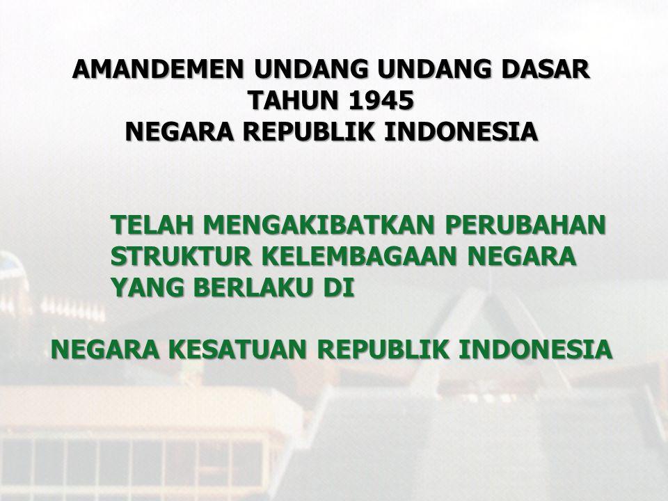 UNDANG - UNDANG DASAR TAHUN 1945 NEGARA REPUBLIK INDONESIA MERUPAKAN LANDASAN UTAMA DALAM PENYELENGGARAAN KEHIDUPAN BERNEGARA BAGI BANGSA DAN NEGARA KESATUAN REPUBLIK INDONESIA