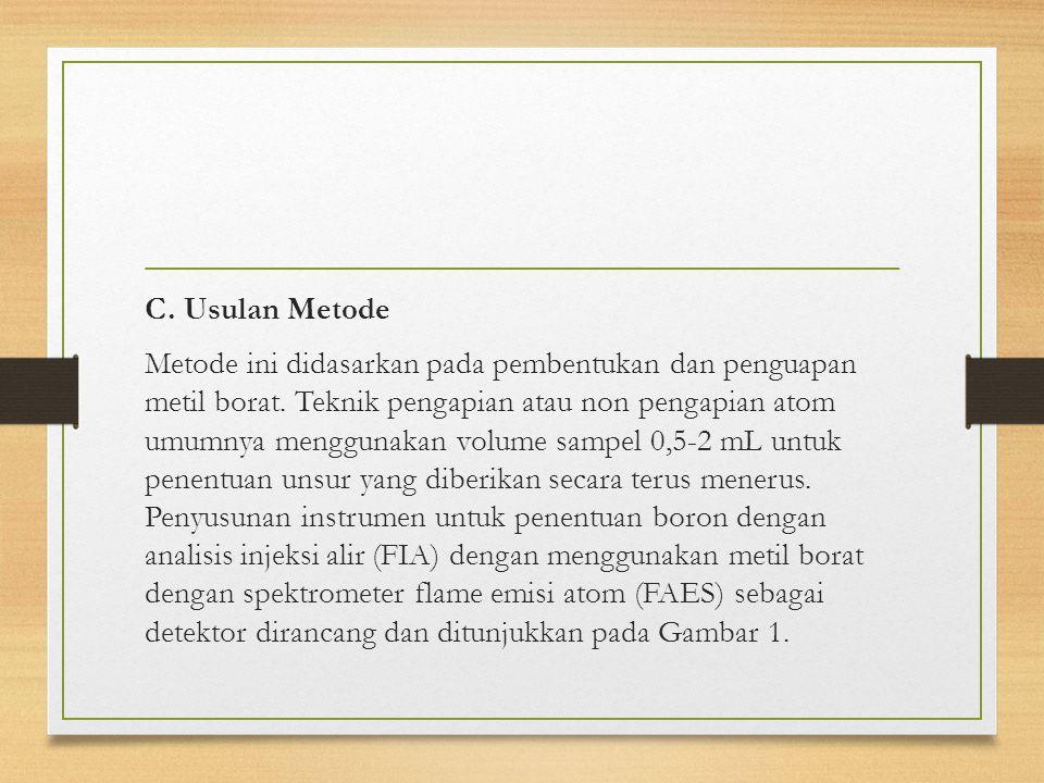 C. Usulan Metode Metode ini didasarkan pada pembentukan dan penguapan metil borat.