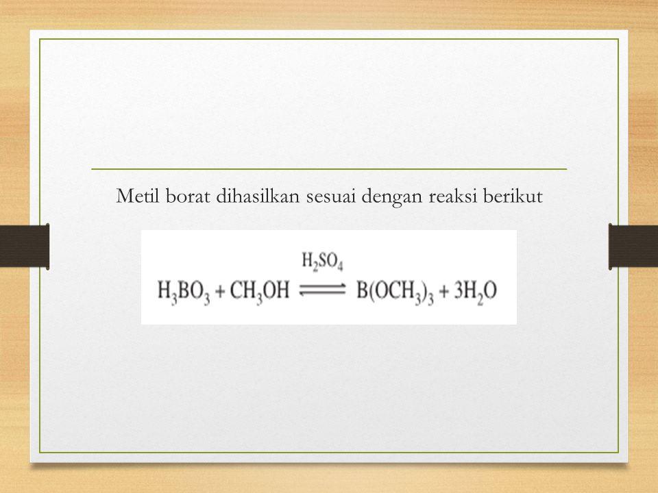 Metil borat dihasilkan sesuai dengan reaksi berikut