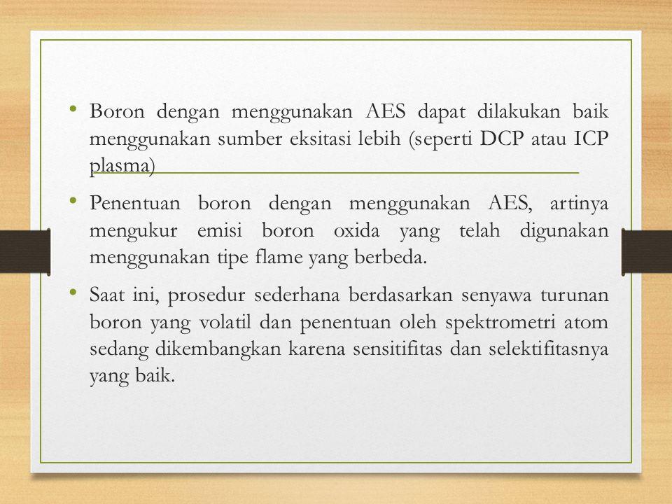 Boron dengan menggunakan AES dapat dilakukan baik menggunakan sumber eksitasi lebih (seperti DCP atau ICP plasma) Penentuan boron dengan menggunakan AES, artinya mengukur emisi boron oxida yang telah digunakan menggunakan tipe flame yang berbeda.