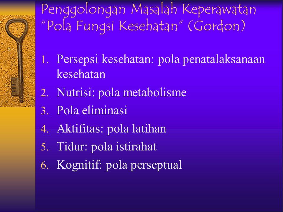 Penggolongan Masalah Keperawatan Respon Manusia (Nanda) 1. Pertukaran 2. Komunikasi 3. Berhubungan 4. Nilai- nilai 5. Pilihan 6. Bergerak 7. Penafsira