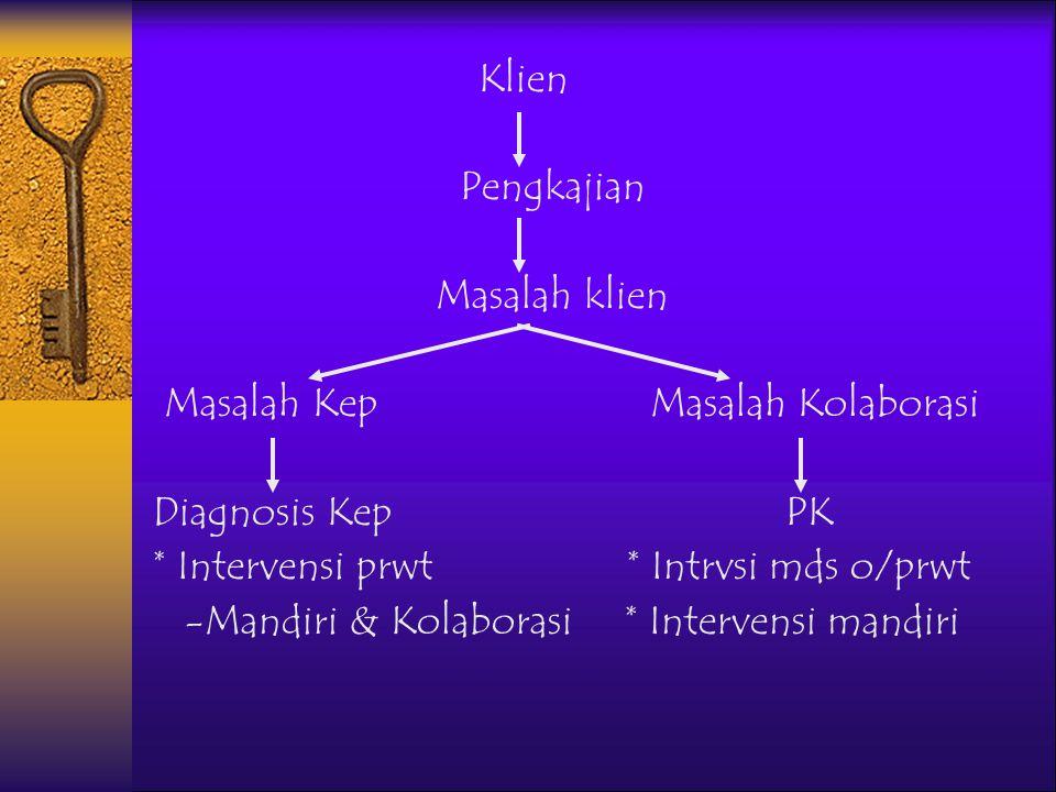 NURSALAM-2004 IDENTIFIKASI (STATUS KESEHATAN, MASALAH) Dapatkah perawat memberikan tindakan yang tepat untuk mencapai tujuan ? Diagnosa keperawatan Ap