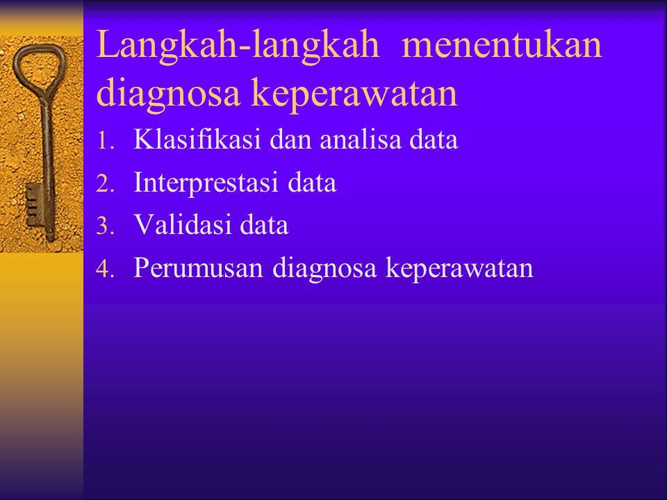 Tujuan Diagnosa Keperawatan 1. Mengidentifikasi masalah pasien terhadap status kesehatannya 2. Mengetahui faktor faktor yang menyebabkan suatu masalah