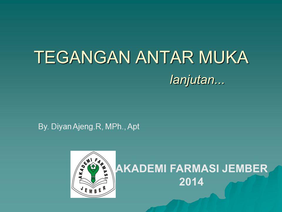 TEGANGAN ANTAR MUKA lanjutan... By. Diyan Ajeng.R, MPh., Apt AKADEMI FARMASI JEMBER 2014