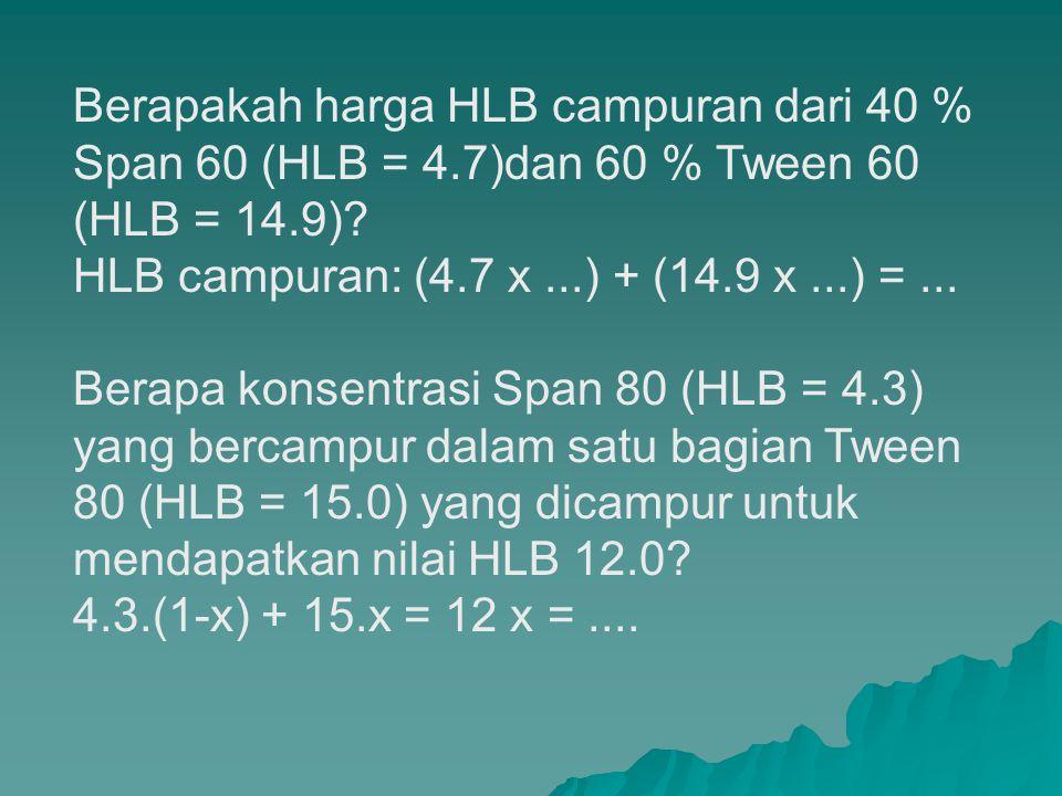 Menghitung HLB yang dibutuhkan untuk fase minyak atau emulsi o/w (16) Cetyl alcohol 15 g., white wax 1g. Lanolin 2 g, emulsifier (q.s.), glycerin 5 g.