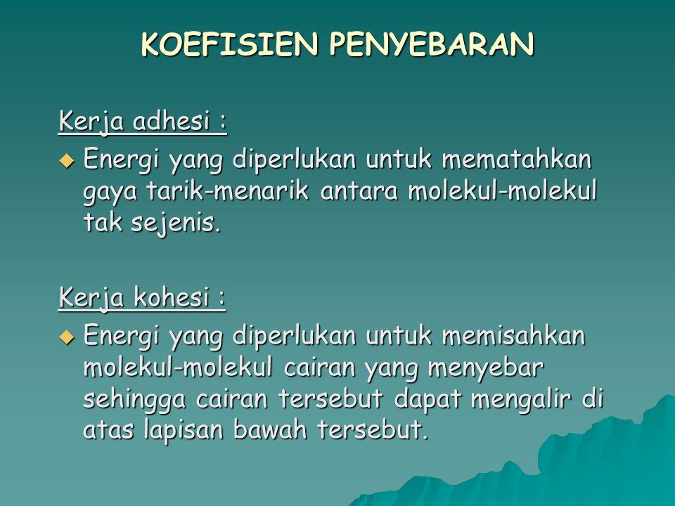 KOEFISIEN PENYEBARAN Kerja adhesi :  Energi yang diperlukan untuk mematahkan gaya tarik-menarik antara molekul-molekul tak sejenis.