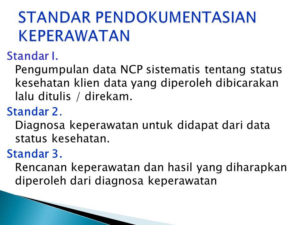 Standar I. Pengumpulan data NCP sistematis tentang status kesehatan klien data yang diperoleh dibicarakan lalu ditulis / direkam. Standar 2. Diagnosa