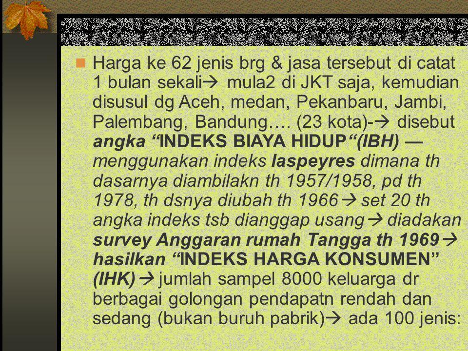 Harga ke 62 jenis brg & jasa tersebut di catat 1 bulan sekali  mula2 di JKT saja, kemudian disusul dg Aceh, medan, Pekanbaru, Jambi, Palembang, Bandu