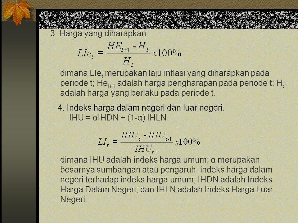 3. Harga yang diharapkan dimana LIe t merupakan laju inflasi yang diharapkan pada periode t; He i+1 adalah harga pengharapan pada periode t; H t adala