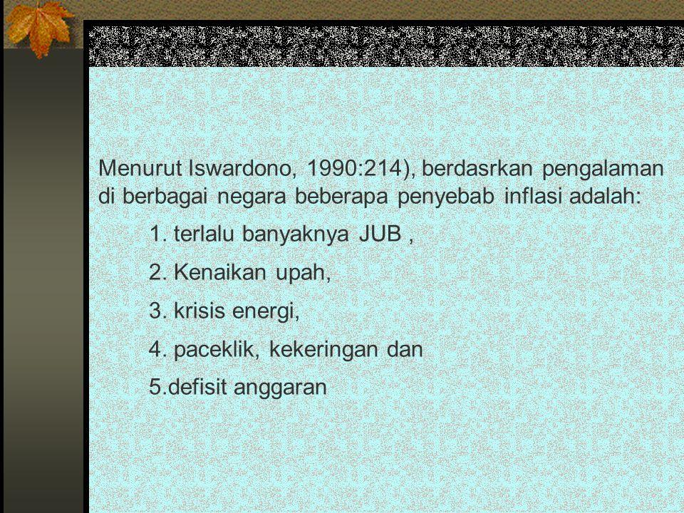 Menurut Iswardono, 1990:214), berdasrkan pengalaman di berbagai negara beberapa penyebab inflasi adalah: 1. terlalu banyaknya JUB, 2. Kenaikan upah, 3