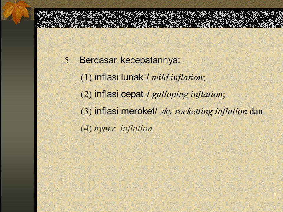 5. Berdasar kecepatannya: (1) inflasi lunak / mild inflation; (2) inflasi cepat / galloping inflation; (3) inflasi meroket/ sky rocketting inflation d