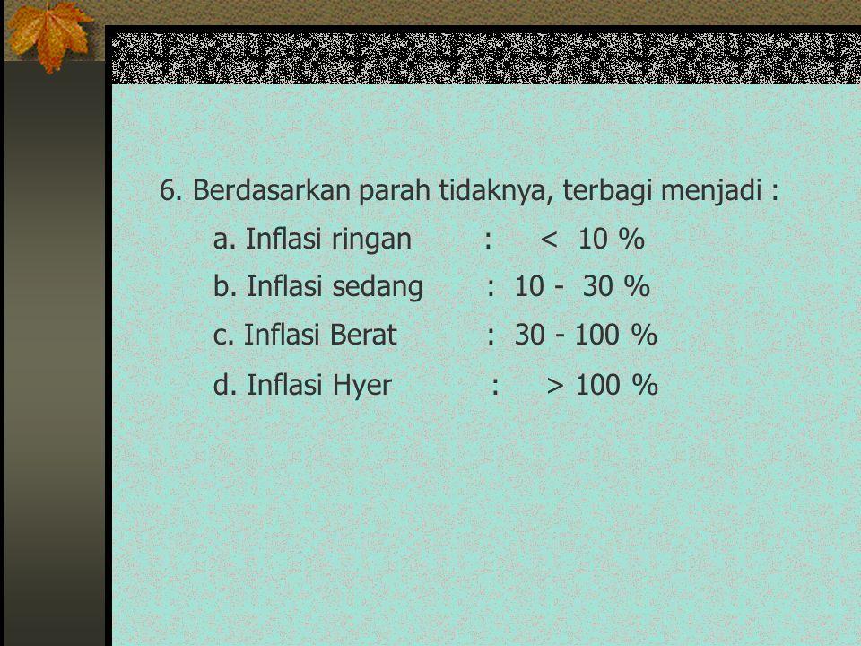 6. Berdasarkan parah tidaknya, terbagi menjadi : a. Inflasi ringan : < 10 % b. Inflasi sedang : 10 - 30 % c. Inflasi Berat : 30 - 100 % d. Inflasi Hye